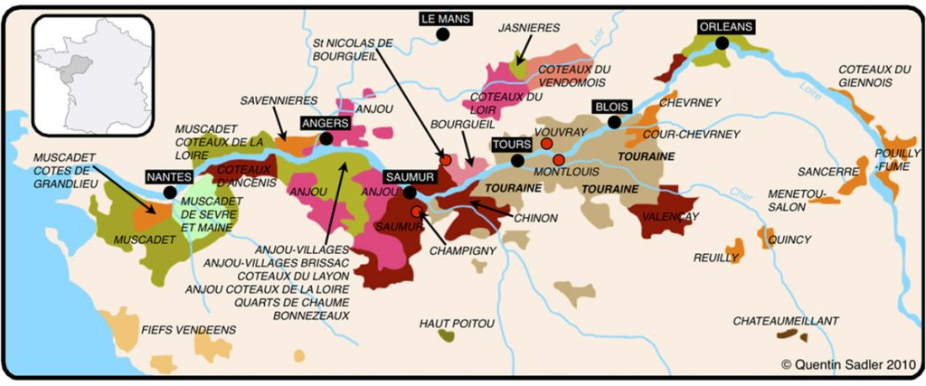 loire valley wine map